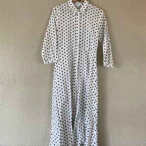 Zara Polka Dot Midi Shirt Dress L XL